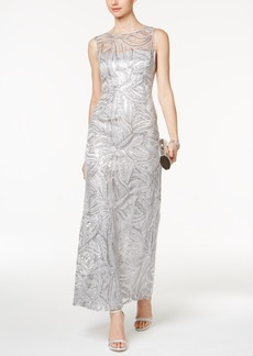 Tahari Asl Sequined Illusion Column Gown