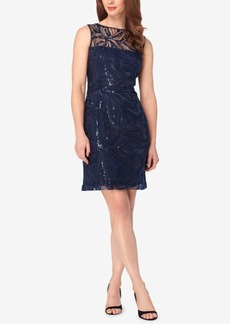 Tahari Asl Sequined Illusion Sheath Dress