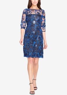 Tahari Asl Sequined Lace Illusion Dress