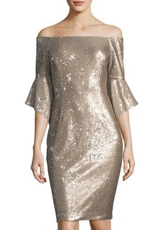 Tahari ASL Sequined Off-The-Shoulder Dress