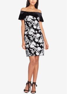 Tahari Asl Sequined Velvet Off-The-Shoulder Dress