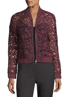 Tahari ASL Sheer Lace Bomber Jacket