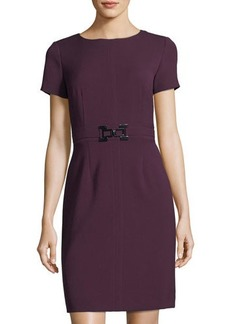 Tahari ASL Short-Sleeve Belted Dress