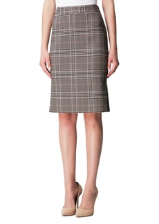 Tahari Asl Side-Pleat Plaid Pencil Skirt