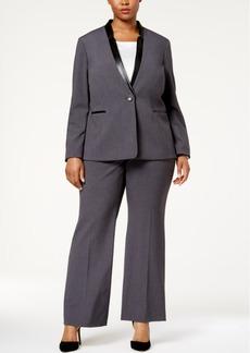 Tahari Asl Plus Size Single-Button Faux-Leather Trim Pantsuit