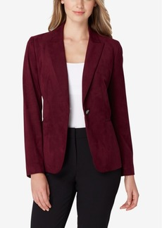 Tahari Asl Single-Button Faux-Suede Jacket