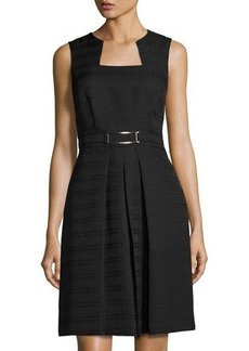 Tahari ASL Sleeveless Belted Jacquard Dress