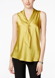Tahari Asl Sleeveless Charmeuse Tie-Neck Blouse