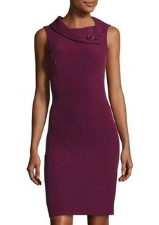 Elie Tahari Sleeveless Embellished-Neck Sheath Dress