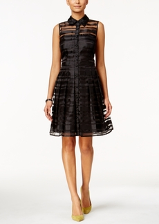 Tahari Asl Sleeveless Illusion-Striped Shirtdress