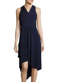 Tahari ASL Sleeveless Jersey Faux-Wrap Dress