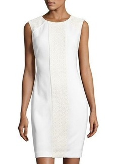 Tahari ASL Sleeveless Lace Scuba Sheath Dress