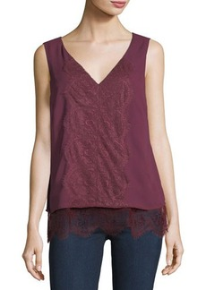 Tahari ASL Sleeveless Lace-Trim Crepe Blouse