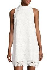Tahari ASL Sleeveless Mock-Neck Lace A-Line Dress