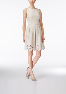 Tahari Asl Sleeveless Pleated A-Line Dress