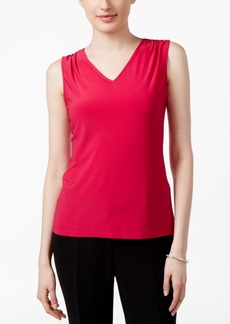 Tahari Asl Sleeveless Pleated V-Neck Top