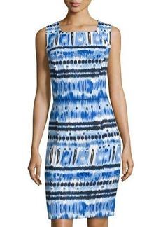 Tahari ASL Sleeveless Printed Linen-Blend Dress