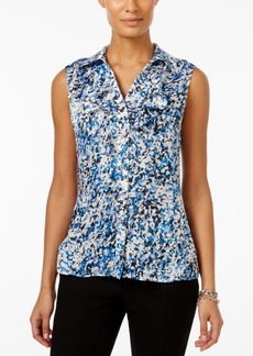 Tahari Asl Sleeveless Printed Ruffled Top