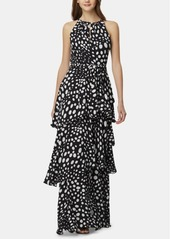 Tahari Asl Sleeveless Printed Tiered Gown