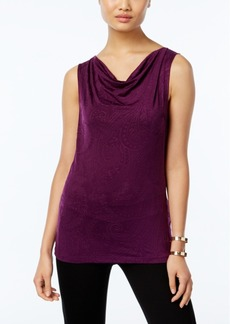 Tahari Asl Sleeveless Textured Drape-Neck Top