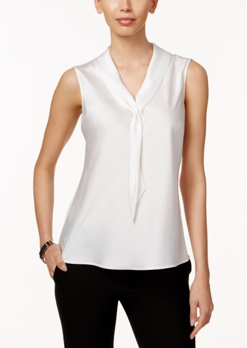 Tahari Asl Sleeveless Tie-Neck Blouse