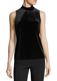 Tahari ASL Sleeveless Velvet Mock-Neck Top