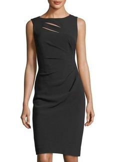 Tahari ASL Slit-Neck Side-Rouched Dress