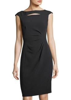 Tahari ASL Slit-Neck Side-Ruched Sheath Dress