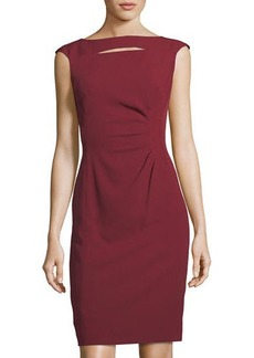 Tahari ASL Slit-Neck Side-Ruched Sheath Dress