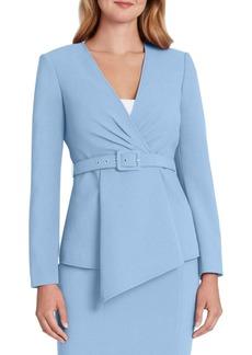 Tahari Asl Solid Asymmetrical Belted Blazer