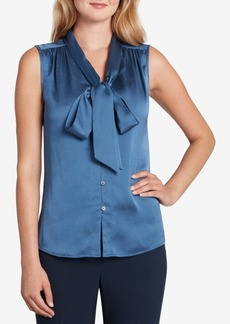 Tahari Asl Solid Button-Front Bow Blouse