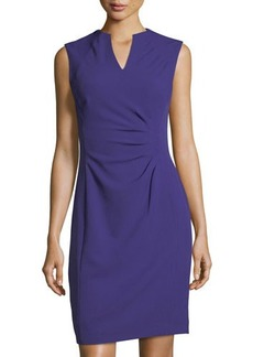 Tahari ASL Split-Neck Side-Ruched Dress