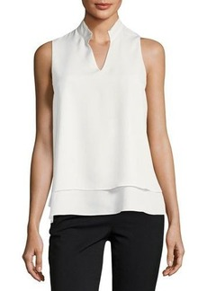 Tahari ASL Split-Neck Sleeveless Crepe de Chine Blouse