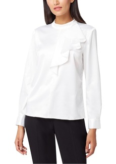 Tahari Asl Stand-Collar Ruffle-Trim Top