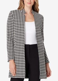 Tahari Asl Star-Neck Houndstooth Topper Jacket