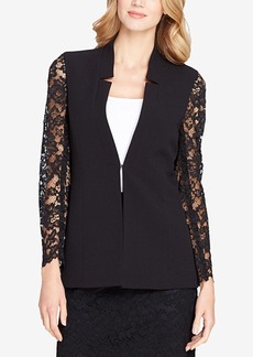 Tahari Asl Star-Neck Lace-Sleeve Jacket