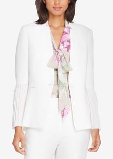Tahari Asl Star-Neck Pleated-Sleeve Crepe Jacket, Regular & Petite