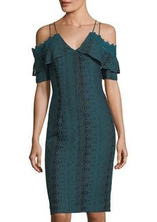 Tahari ASL Strappy Lace Cold-Shoulder Dress
