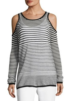 Tahari ASL Striped Cold-Shoulder Top