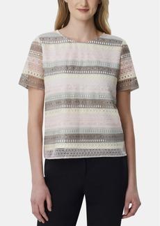 Tahari Asl Striped Crocheted Top