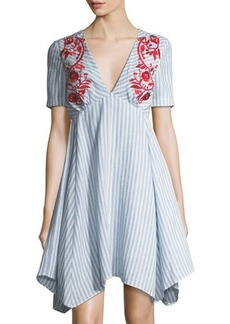 Tahari ASL Striped Embroidered A-Line Dress