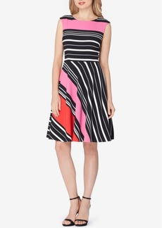 Tahari Asl Striped Fit & Flare Dress