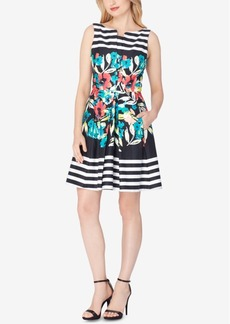 Tahari Asl Striped Floral Fit & Flare Dress