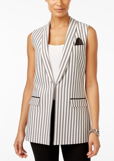Tahari Asl Striped Herringbone Vest