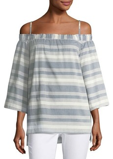 Tahari ASL Striped Off-the-Shoulder Blouse