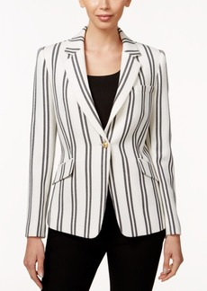 Tahari Asl Striped One-Button Blazer