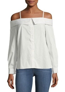 Tahari ASL Striped Poplin Off-the-Shoulder Shirt