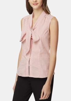 Tahari Asl Striped Tie-Neck Blouse