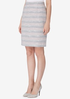 Tahari Asl Striped Tweed Pencil Skirt