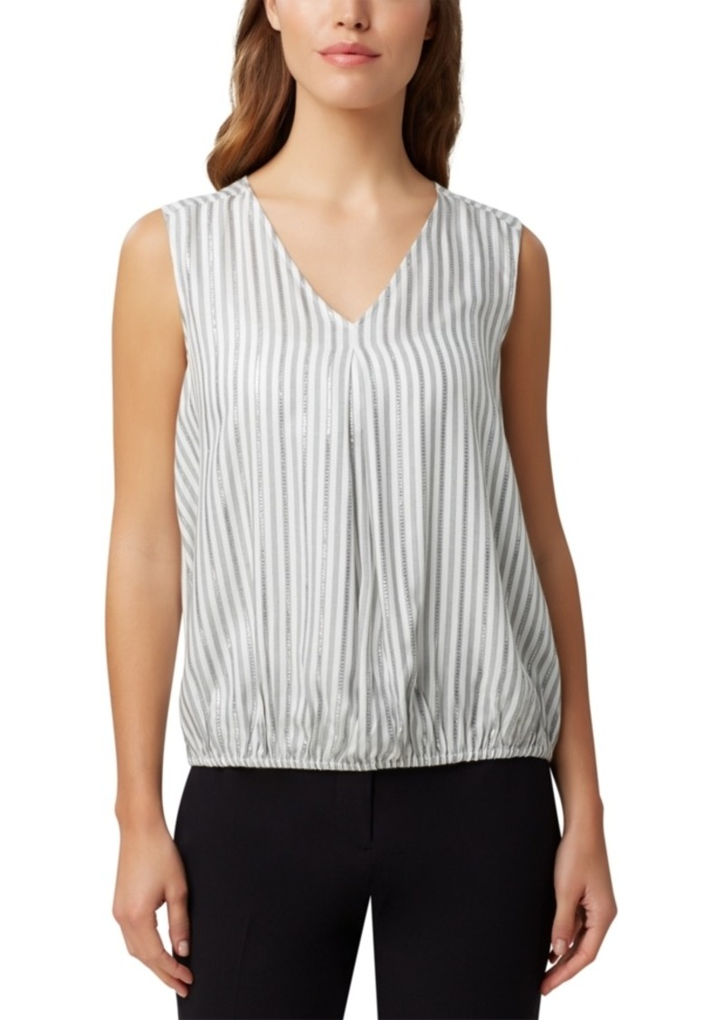 Tahari Asl Striped V-Neck Top